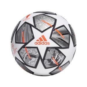 adidas Fodbold Champions League Finale 2021 Kampbold 20Y - Hvid/Sølv/Sølv FORUDBESTILLING